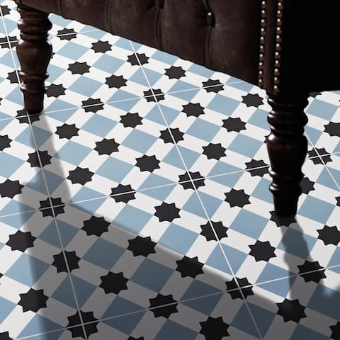 Handmade Ait Baha in Blue and Black Tile, Pack of 12 (Morocco)