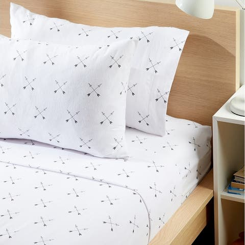 Modern Moon & Star Arrow Flannel Sheet Set