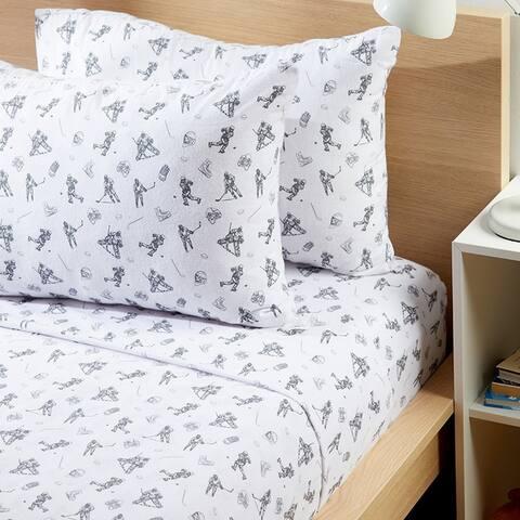 Modern Moon & Star White Hockey Flannel Sheet Set