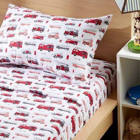 Modern Moon & Star Fire Truck Juvenile Cotton Flannel Sheet Set