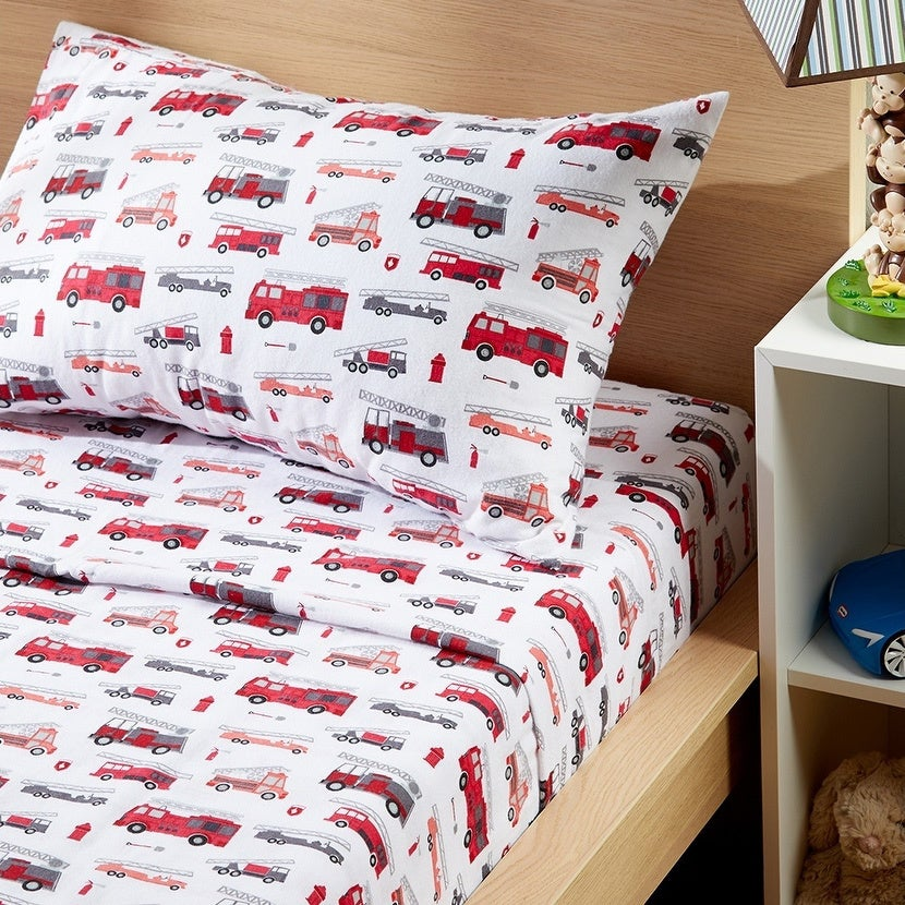 Porch Den Sonnet Fire Truck Pattern Cotton Flannel Sheet Set Size Twin On Sale Overstock 28425002