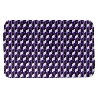 Classic Geometric Stripes Bath Mat (17 X 24 Purple)