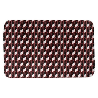 Classic Geometric Stripes Bath Mat (21 X 34 Red)
