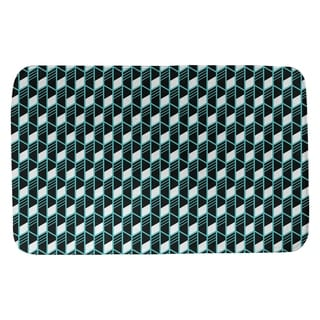 Classic Geometric Stripes Bath Mat (21 X 34 Teal)