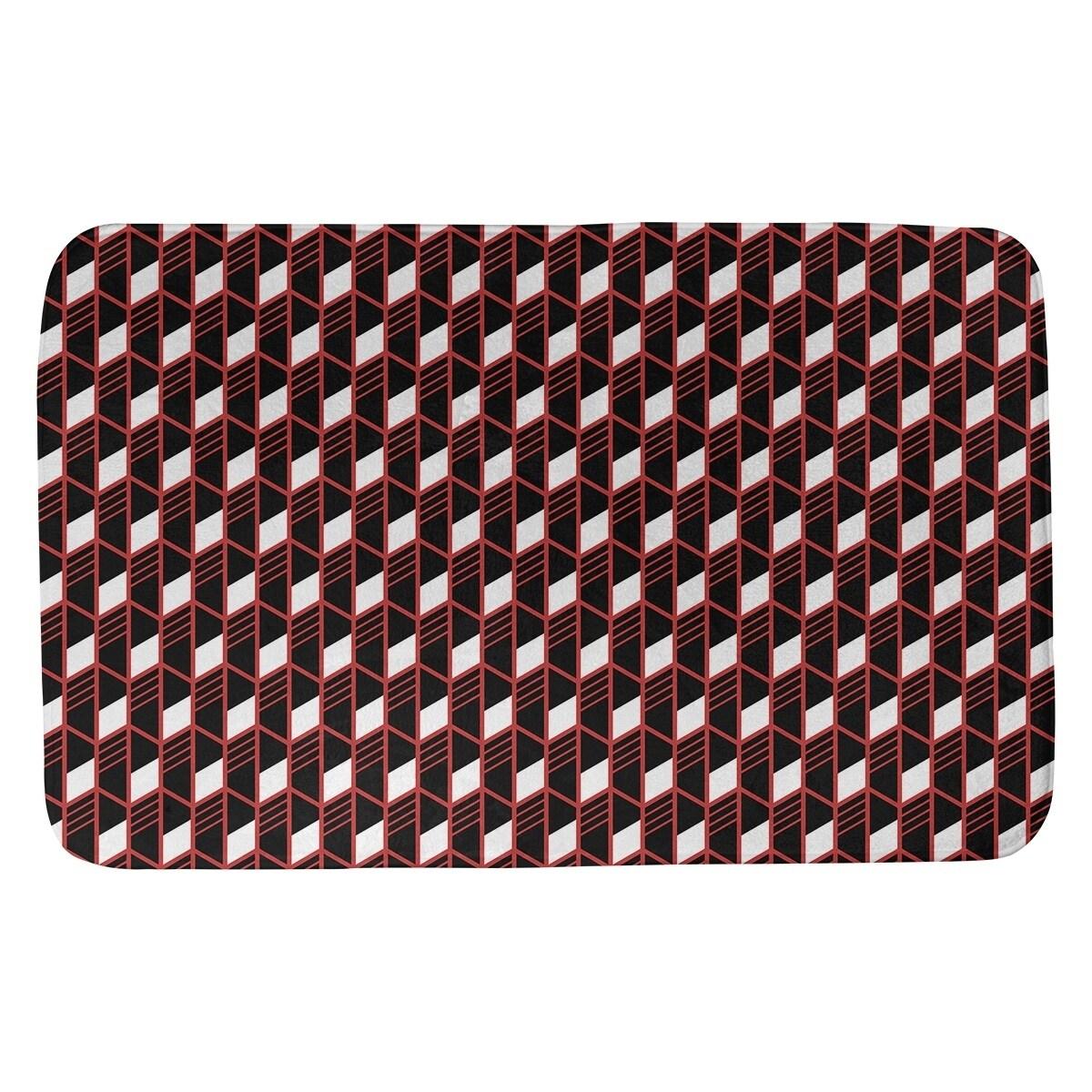 Classic Geometric Stripes Bath Mat (21 X 34 Orange)