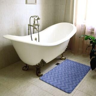 Monochromatic Hand Drawn Chevron Pattern Bath Mat