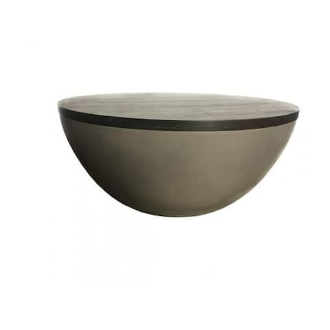 Carson Carrington Uddfors Modern Concrete & Brown Oak Round Coffee Table