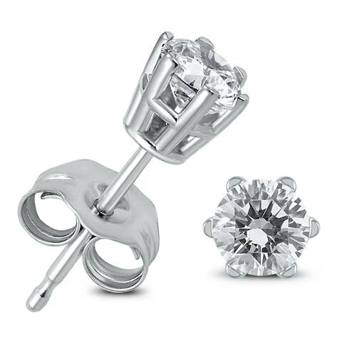 1/2 Carat TW 6 Prong Round Diamond Solitaire Stud Earrings In 14k White Gold