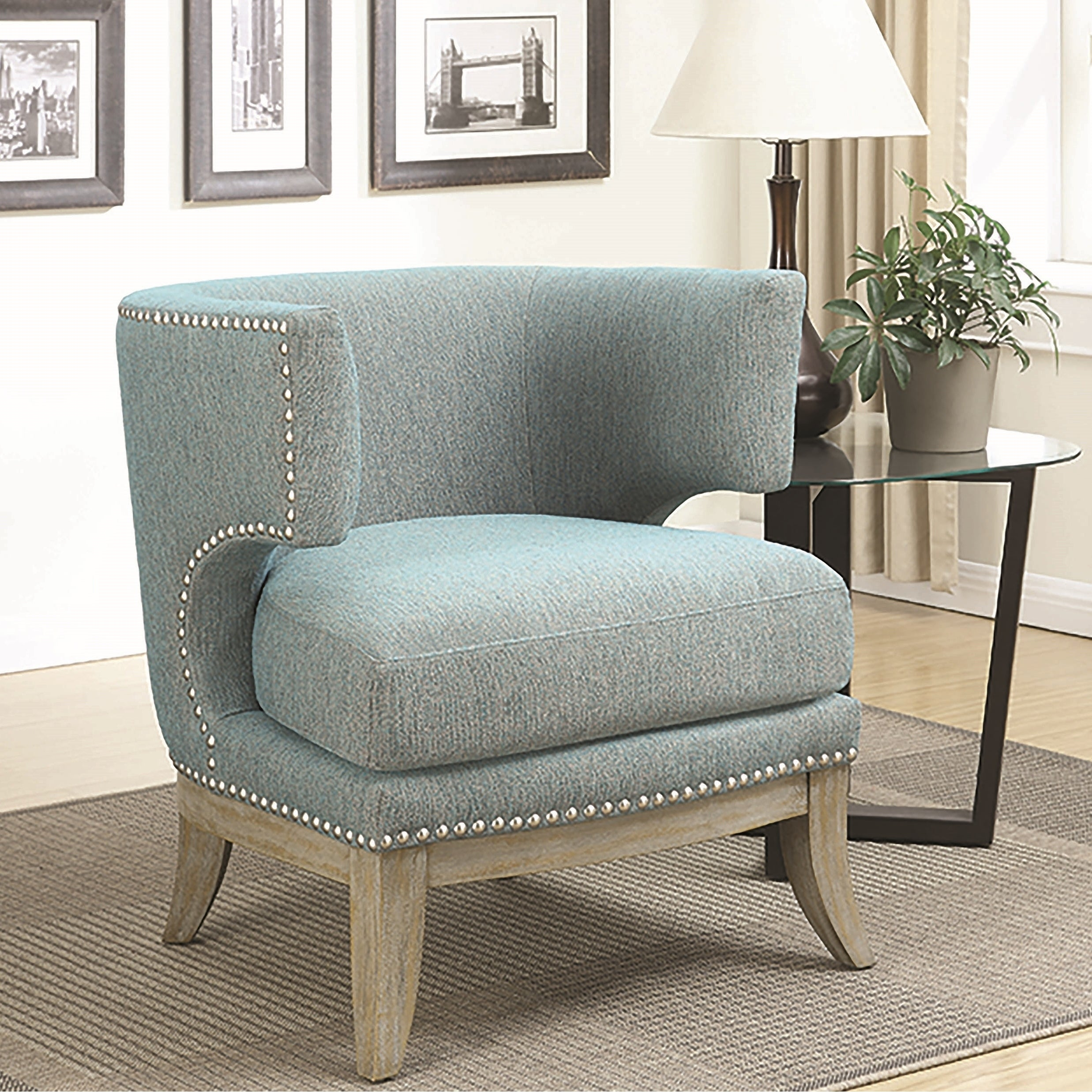 Mid Century Design Blue Chenille Living Room Accent Chair with Nailhead  Trim - 1-Soft Blue Chair