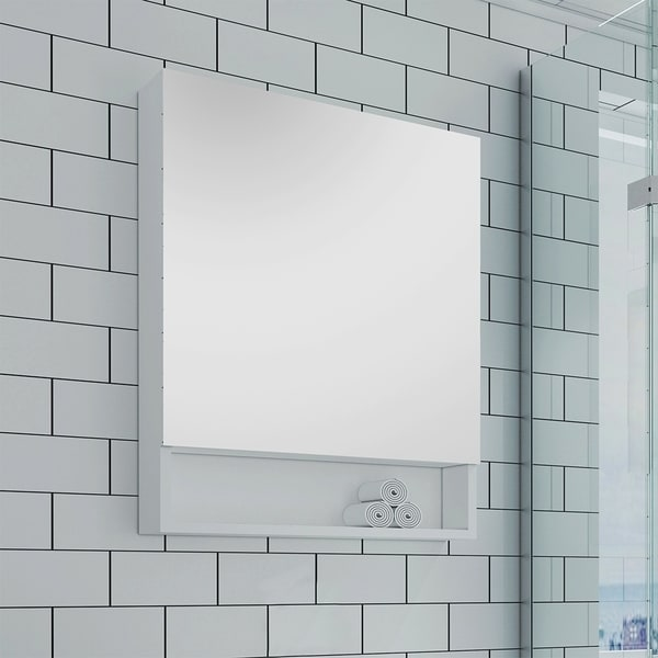 "Fresca 24"" White Bathroom Medicine Cabinet w/ Small Bottom Shelf"