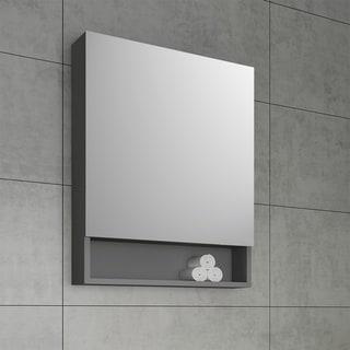 "Fresca 24"" Gray Bathroom Medicine Cabinet w/ Small Bottom Shelf"