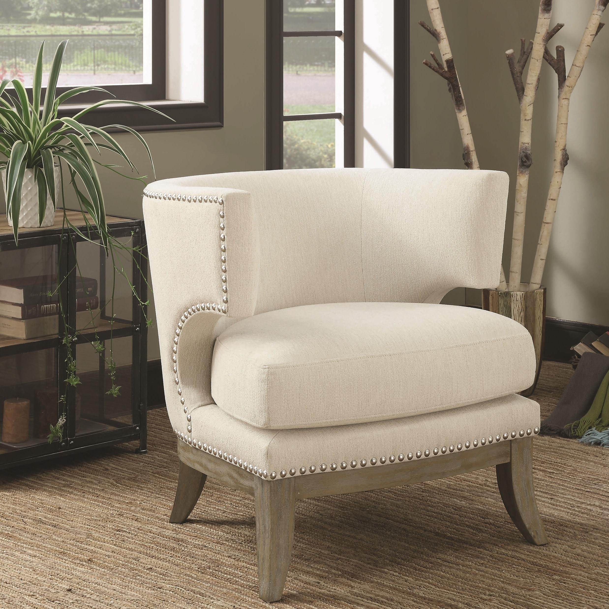 Mid Century Design Cream White Chenille Living Room Accent Chair With Nailhead Trim On Sale Overstock 28426052