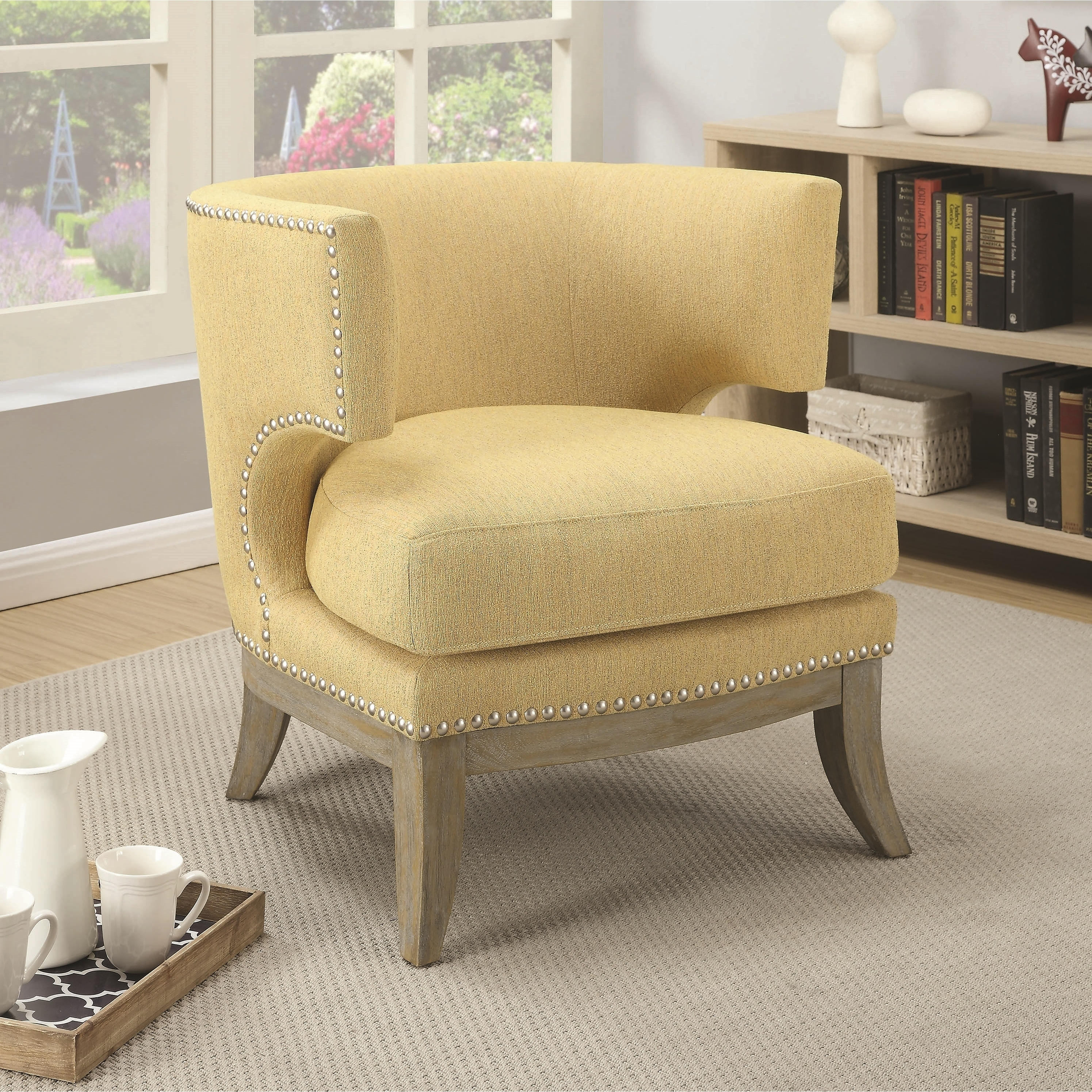 Picture of: Mid Century Design Yellow Chenille Living Room Accent Chair With Nailhead Trim On Sale Overstock 28426059