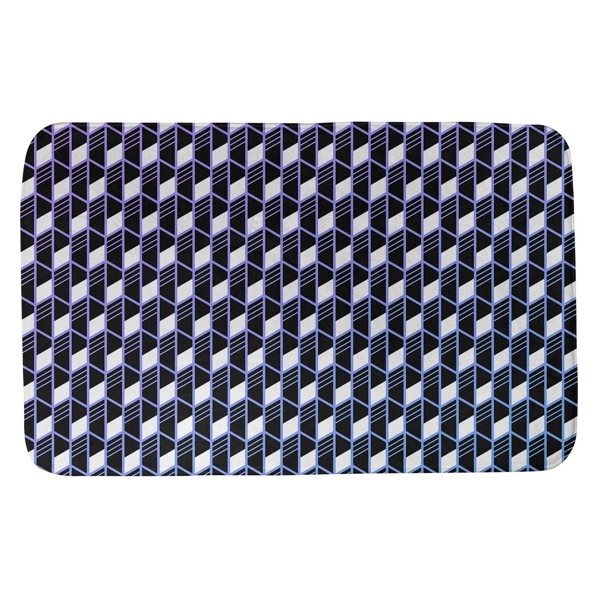 Ombre Geometric Stripes Bath Mat (17 X 24 Blue Green & Pink)