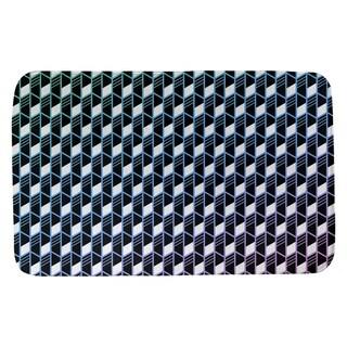 Ombre Geometric Stripes Bath Mat (21 X 34 Blue Green & Pink)