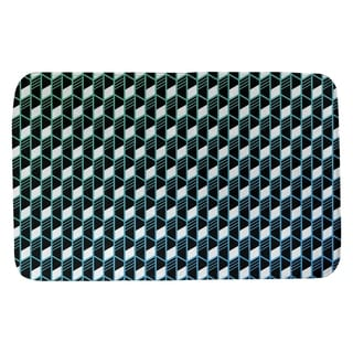 Ombre Geometric Stripes Bath Mat (21 X 34 Green & Blue)