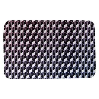 Ombre Geometric Stripes Bath Mat (21 X 34 Pink & Blue)