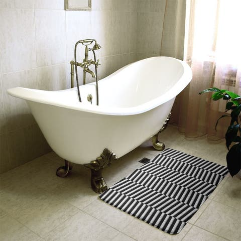 Two Color Fractured Stripes Bath Mat