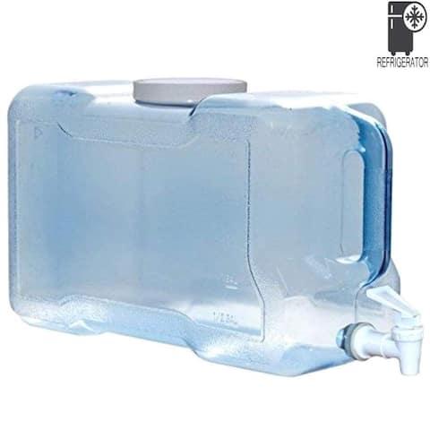 BPA-Free Refrigerator Water Dispenser 2 Gallon Reusable Plastic Bottle Jug Container - Blue
