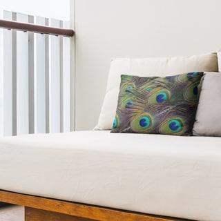 Peacock Feathers Outdoor Lumbar Pillow