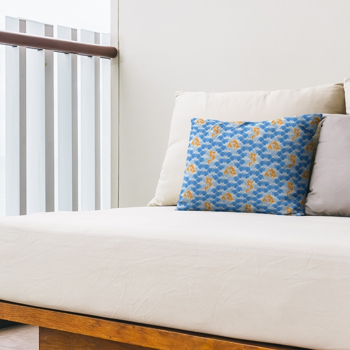 Koi Fish Waves Outdoor Lumbar Pillow Overstock 28426964
