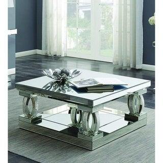 Lanson Mirror and Rhinestones Modern Square Coffee Table