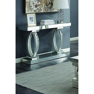 Lanson Mirror and Rhinestones Modern Accent Table