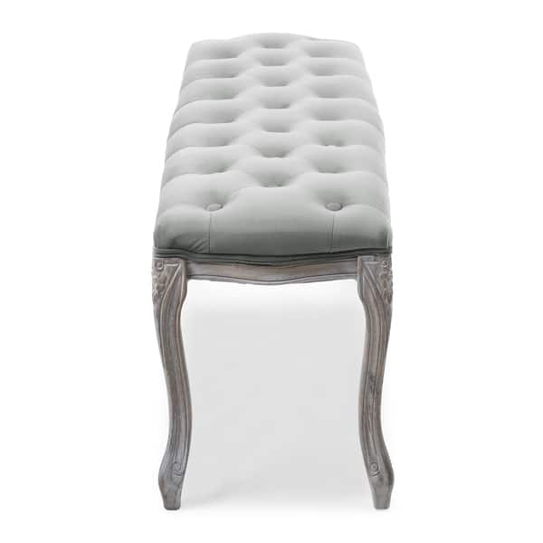 Excellent Shop Leona Velvet Bench In Vintage Pewter On Sale Free Theyellowbook Wood Chair Design Ideas Theyellowbookinfo