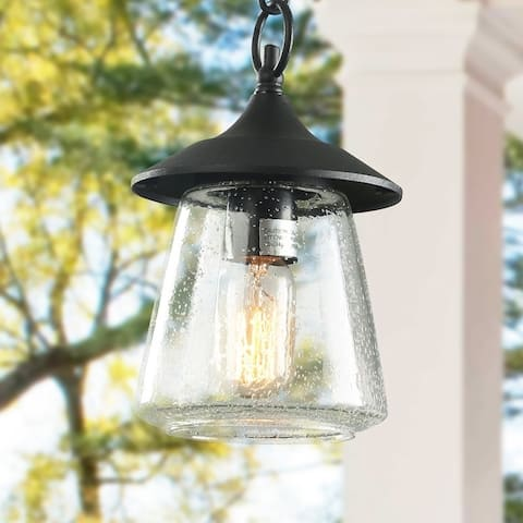 "Rustic 1-Light Outdoor Pendant Lights Porch Patio Hanging Ceiling Lighting - D 6.25"" x H 9.4"""
