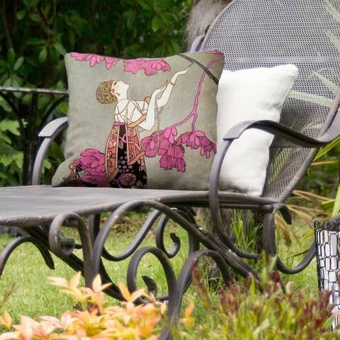 Woman in Red Indoor/Outdoor Pillow