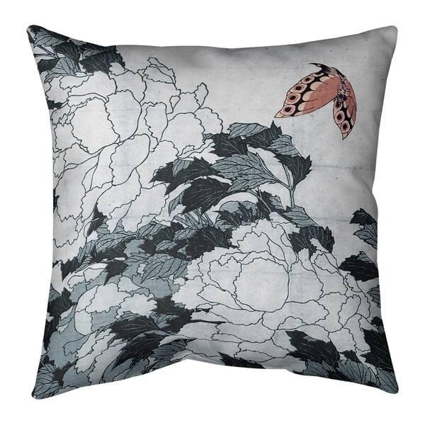 Peonies And Butterfly Indoor Outdoor Pillow Overstock 28429767