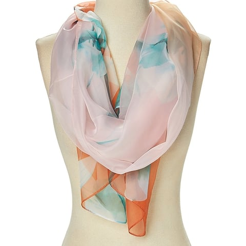 Women's Polyester Scarves Lightweight Floral Casual Fashion Scarf Spring summer season - Large