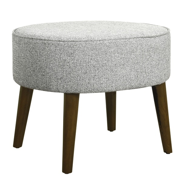 Shop Textured Fabric Upholstered Ottoman With Wooden