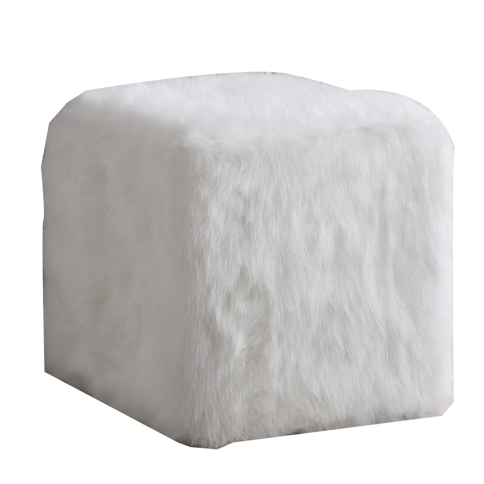 Enjoyable Faux Fur Upholstered Wooden Ottoman In Cube Shape White Creativecarmelina Interior Chair Design Creativecarmelinacom
