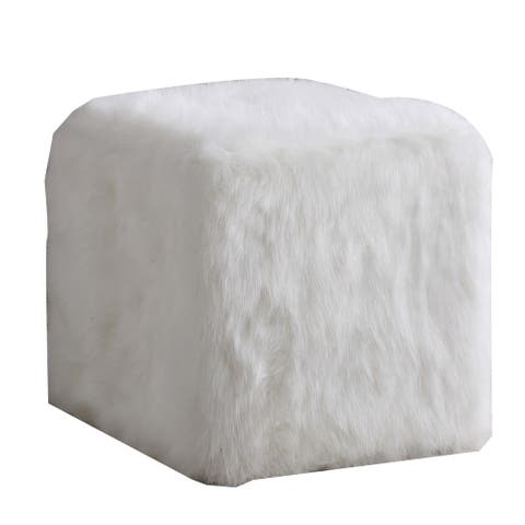 Faux Fur Upholstered Wooden Ottoman in Cube Shape, White