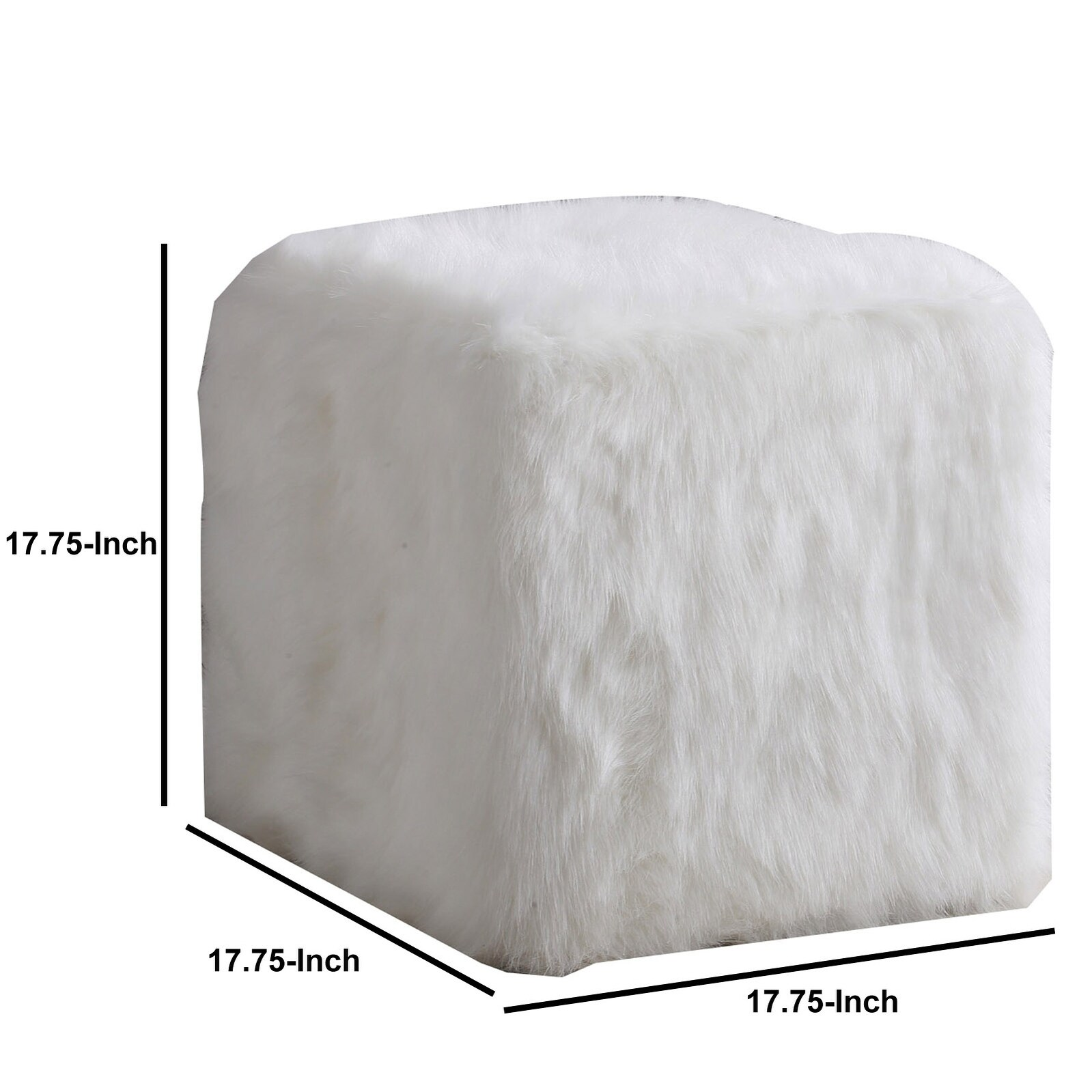 Fantastic Faux Fur Upholstered Wooden Ottoman In Cube Shape White Inzonedesignstudio Interior Chair Design Inzonedesignstudiocom