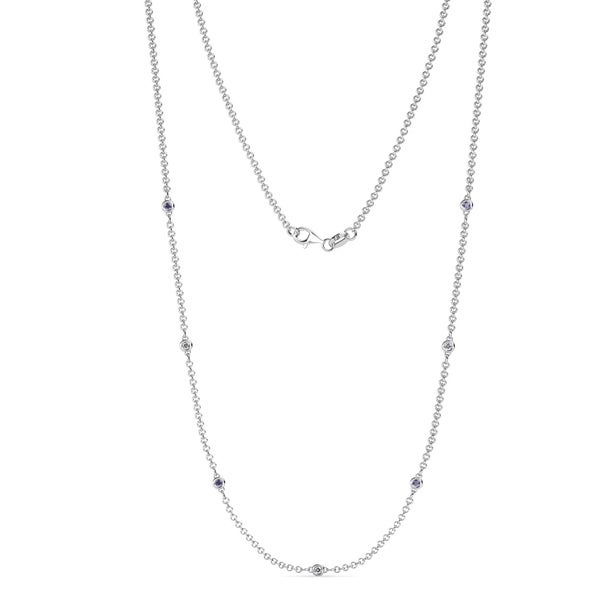 ad1b908c0 TriJewels 7 Stone Iolite & Diamond Station Necklace 0.16 ctw 14KW Gold