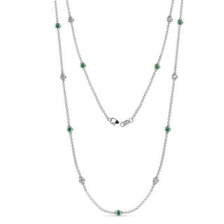 TriJewels Emerald Diamond Station Necklace 0 74 Ctw 14KW Gold