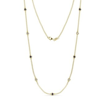 TriJewels Sapphire Diamond 9 Station Necklace 0 56 Ctw 14KY Gold