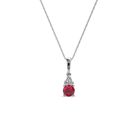 TriJewels Ruby and Diamond Womens Pendant Necklace 0.31 ctw 14KW Gold