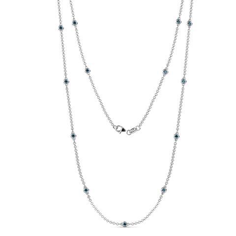 Trijewels London Blue Topaz Station Necklace 0.59 ctw 14KW Gold Chain