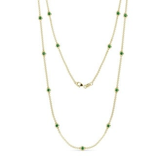 TriJewels 13 Stone Emerald Womens Station Necklace 0 65 Ctw 14KY Gold
