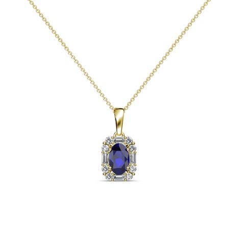 TriJewels Blue Sapphire & Diamond Halo Pendant 0.63 ctw 14KY Gold