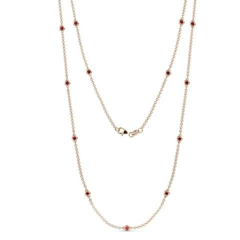 TriJewels 13 Stone Ruby Womens Station Necklace 0.61 ctw 14KR Gold