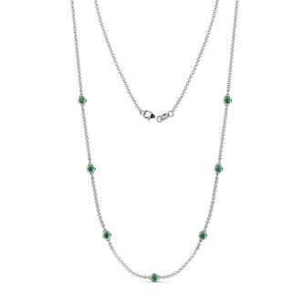 TriJewels 7 Stone Emerald Womens Station Necklace 0 56 Ctw 14KW Gold