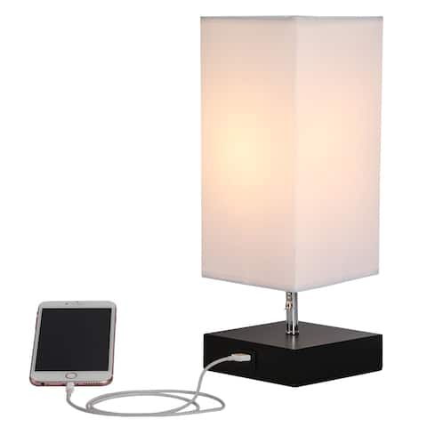 CO-Z 13.5-inch Table Lamp with Solid Wood Base and USB Port