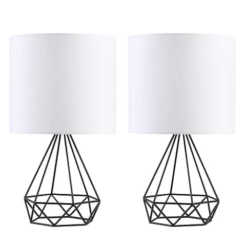 CO-Z Modern 16-inch Table Lamps with Hollowed Out Base and White Fabric Shade, Set of 2