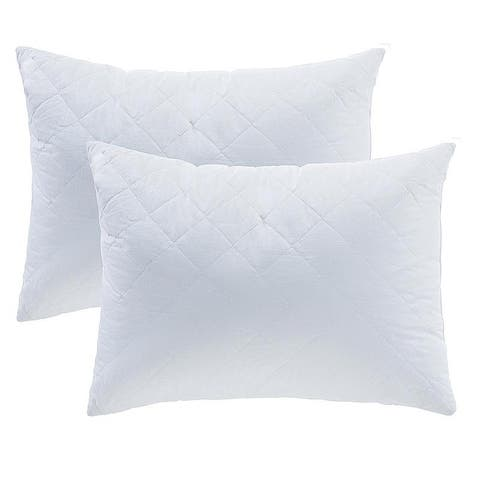 Porch & Den Palatial White Quilted Bedding Pillow Insert (Set of 2)