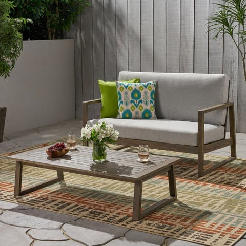 Belgian Outdoor Acacia Wood Chat Set with Coffee Table by Christopher Knight Home
