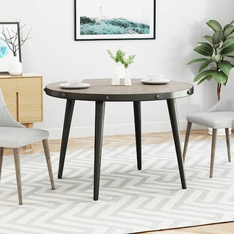 Ermina Round Faux Wood Dining Table with Elm Veneer Top by Christopher Knight Home - Weathered Elm+Gun Metal